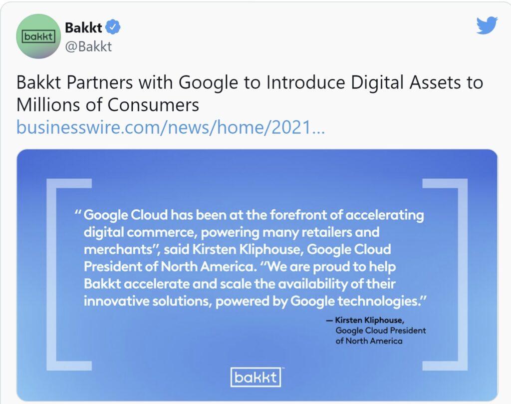 Crypto platform Bakkt has partnered with Google