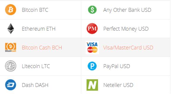 Bitcoin Cash to Visa/Mastercard Exchange Step 1