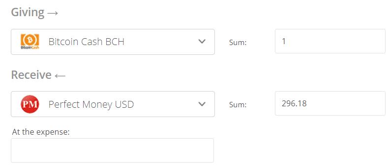 Convert Bitcoin Cash to Perfect Money Exchange Step 2