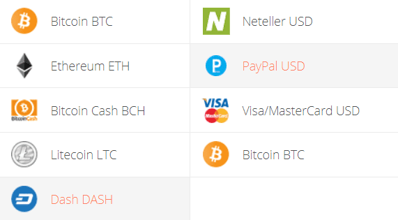 DASH to PayPal Exchange Step 1