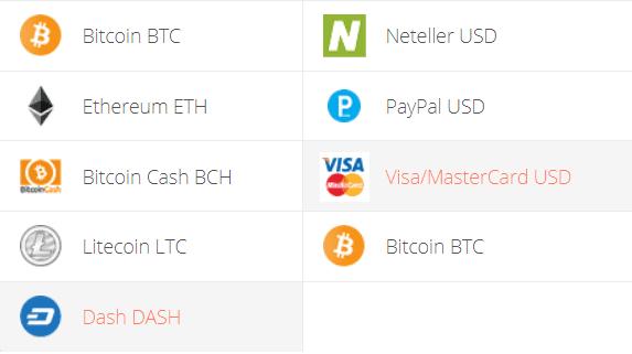 DASH to VISA, DASH to Mastercard Exchange Step 1