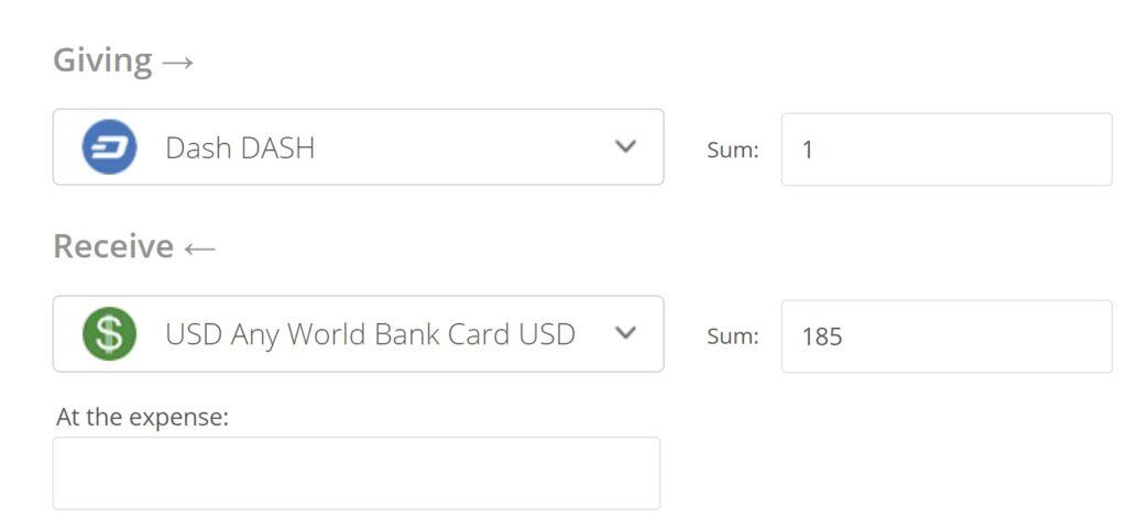 DASH to USD Convert Step 2