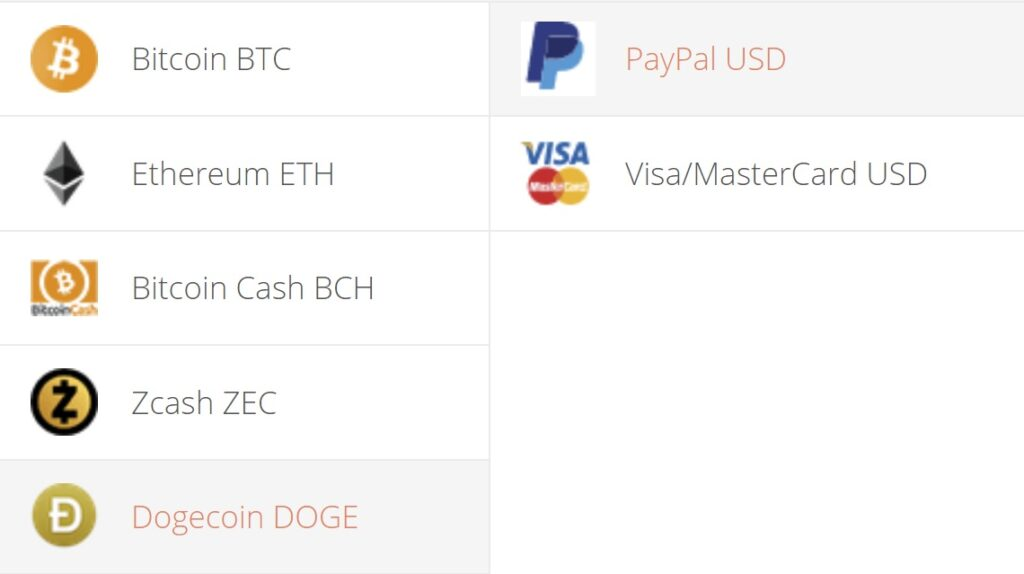 Dogecoin to PayPal Exchange Step 1