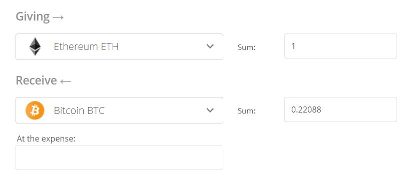 eth to btc converter, Ethereum to Bitcoin Exchange Step 2