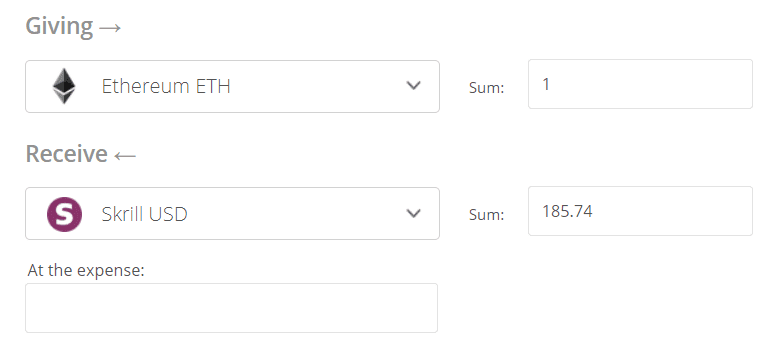 Convert Ethereum to Skrill Exchange Step 2