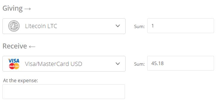 Litecoin to Visa/Mastercard Exchange Step 2