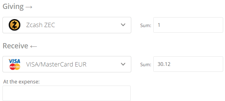 Zcash to EURO Convert Step 2
